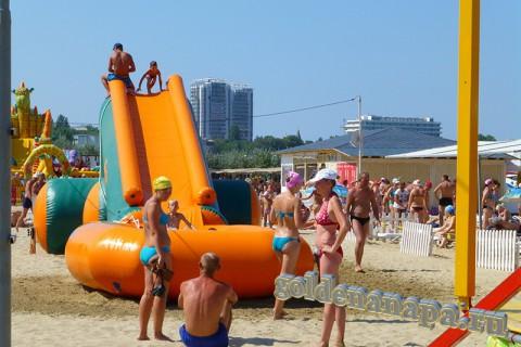 Анапа городской пляж аттракцион для детей август